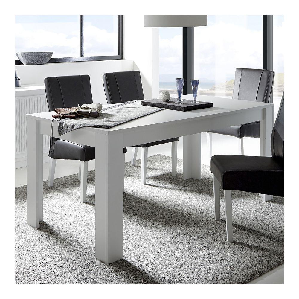Sofamobili Table à manger blanc laqué mat design BURTON