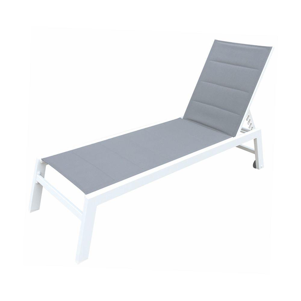 Happy Garden Bain de soleil BARBADOS en textilène gris - aluminium blanc