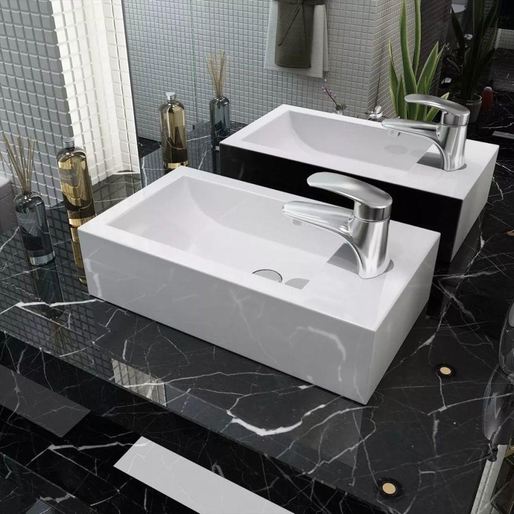 Vidaxl Vasque + trou de robinet Céramique Blanc 46 x 25,5 x 12 cm | Blanc
