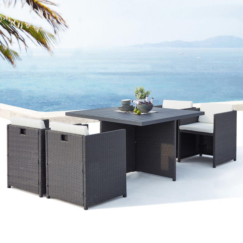 Concept Usine Sunset 4 : salon de jardin encastrable 4 places en résine tressée et aluminium gris/blanc