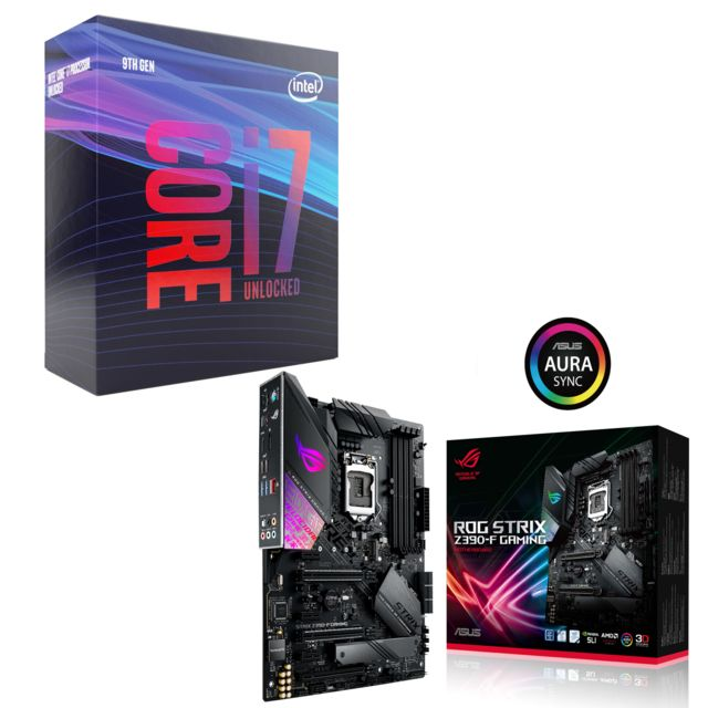 Intel - Core i7 9700K - 3,6/4,9 GHz + Intel Z390-F ROG STRIX GAMING - ATX - Kit d'évolution Intel