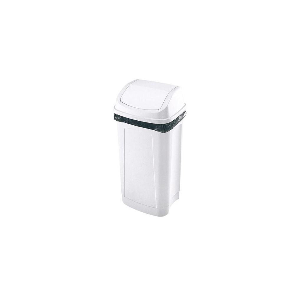Prodifa Poubelle plastique 50 litres rectangle à couvercle basculant blanche