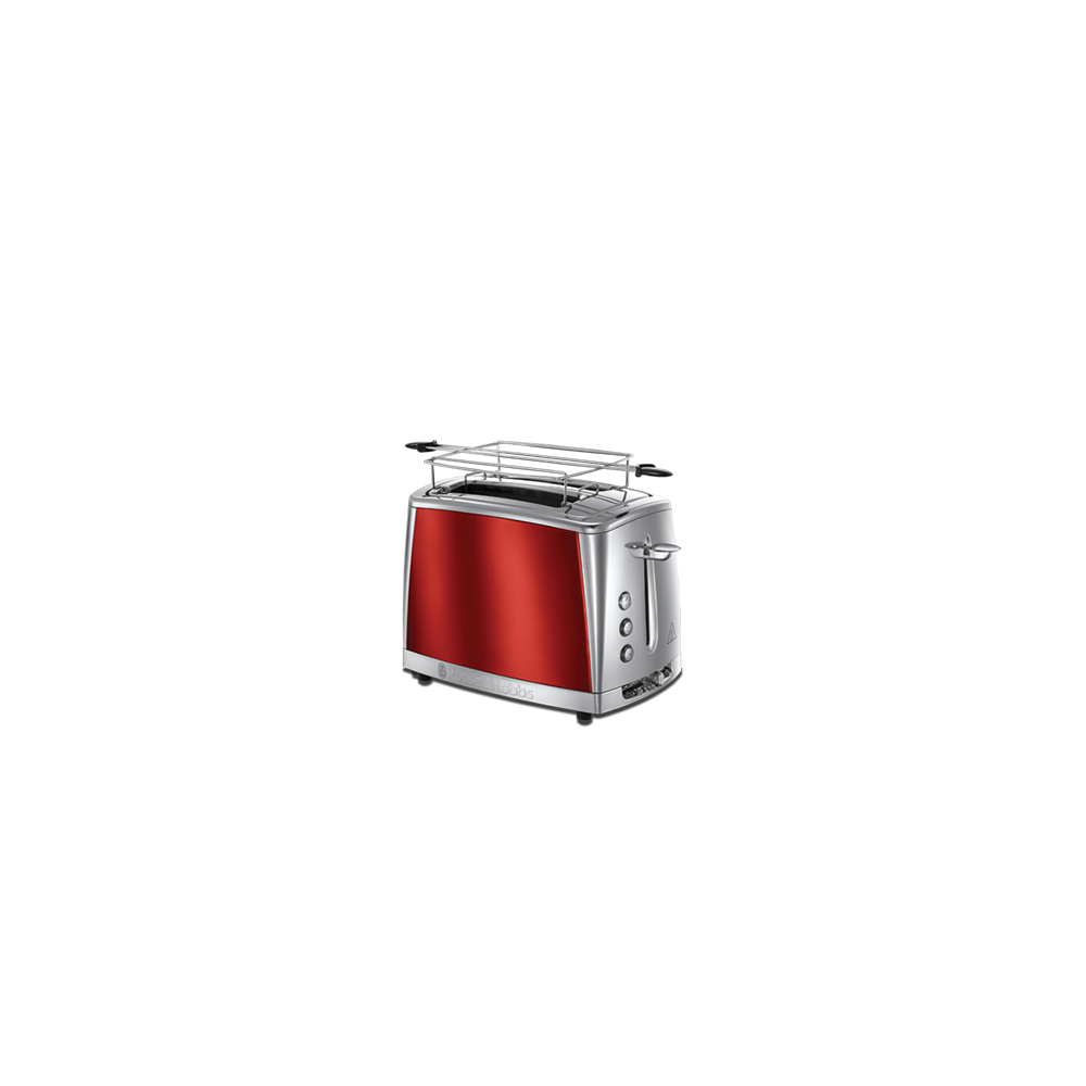 Russell Hobbs Toaster Luna Rouge Solaire - Technologie Fast Toast, 55% plus rapide, 2 fentes, réch. Viennoiserie