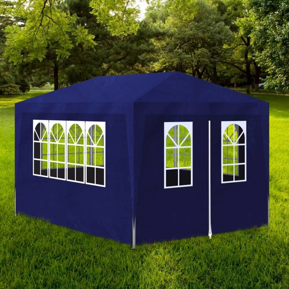 Vidaxl vidaXL Tonnelle Jardin Tente Réception Chapiteau Bleu 3x4 m Terrasse Pavillon