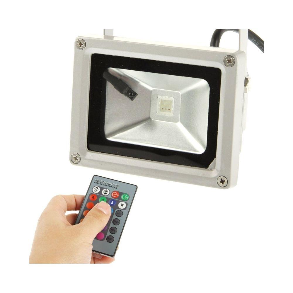 Wewoo Projecteur LED Lampe imperméable de de la puissance élevée 10W RVB avec la télécommande, AC 85-265V