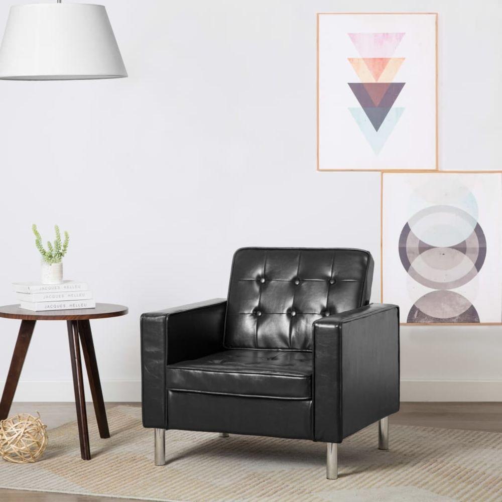 Vidaxl Fauteuil Revêtement simili-cuir Noir 75 x 70 x 75 cm - Fauteuils - Fauteuils club, fauteuils inclinables et chauffeuses
