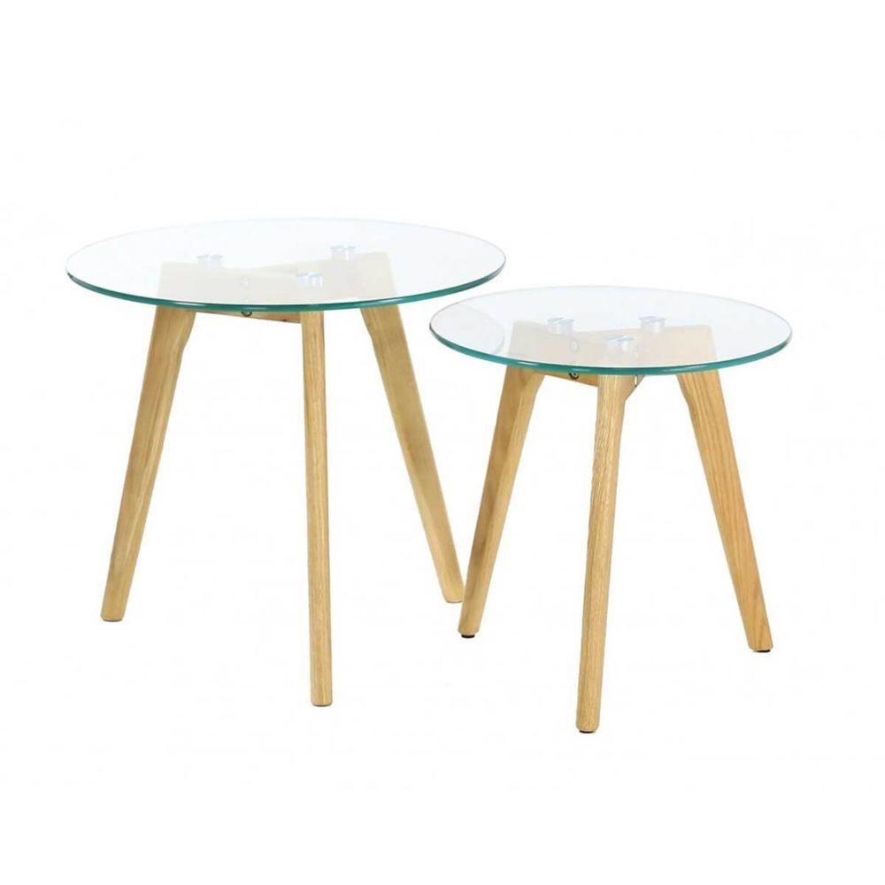 Altobuy Glass - Lot de 2 Tables Gigognes Rondes Verre Trempé