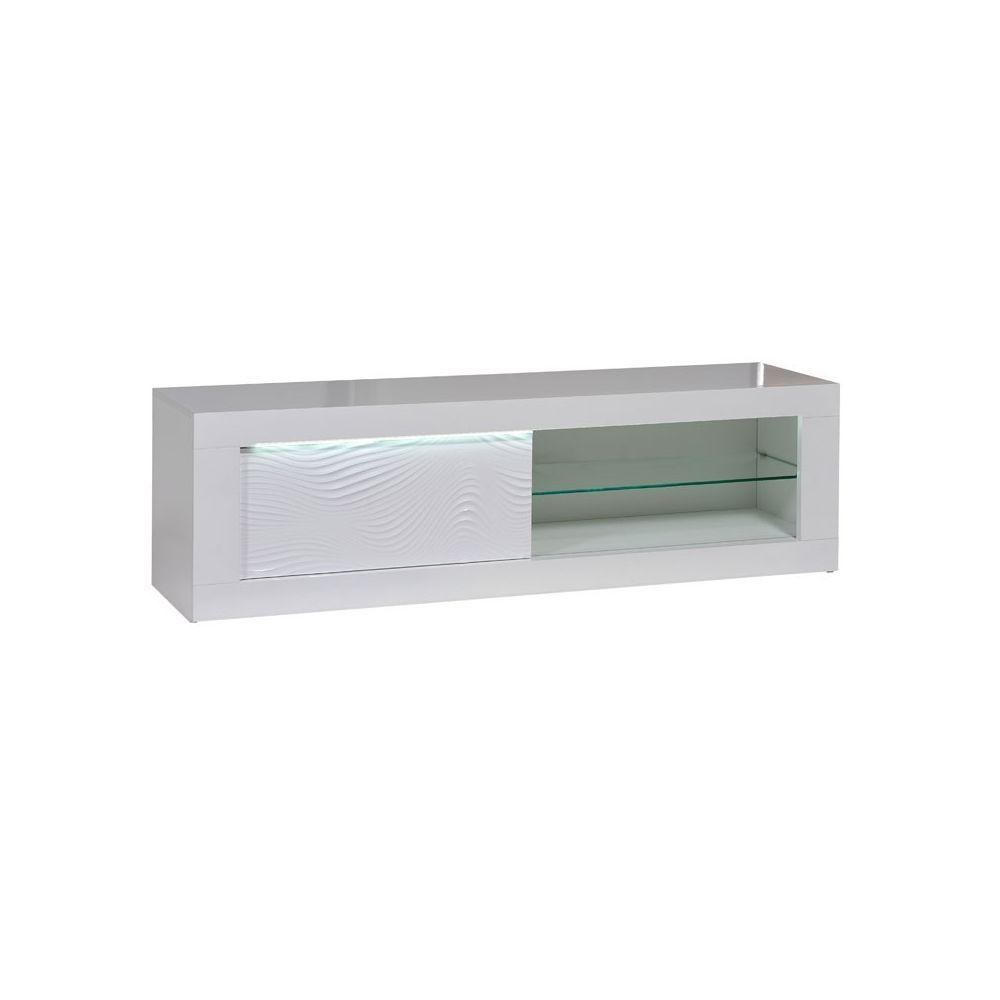 Tousmesmeubles Meuble TV 1 porte coulissante Laqué Blanc à LEDs - MARKS