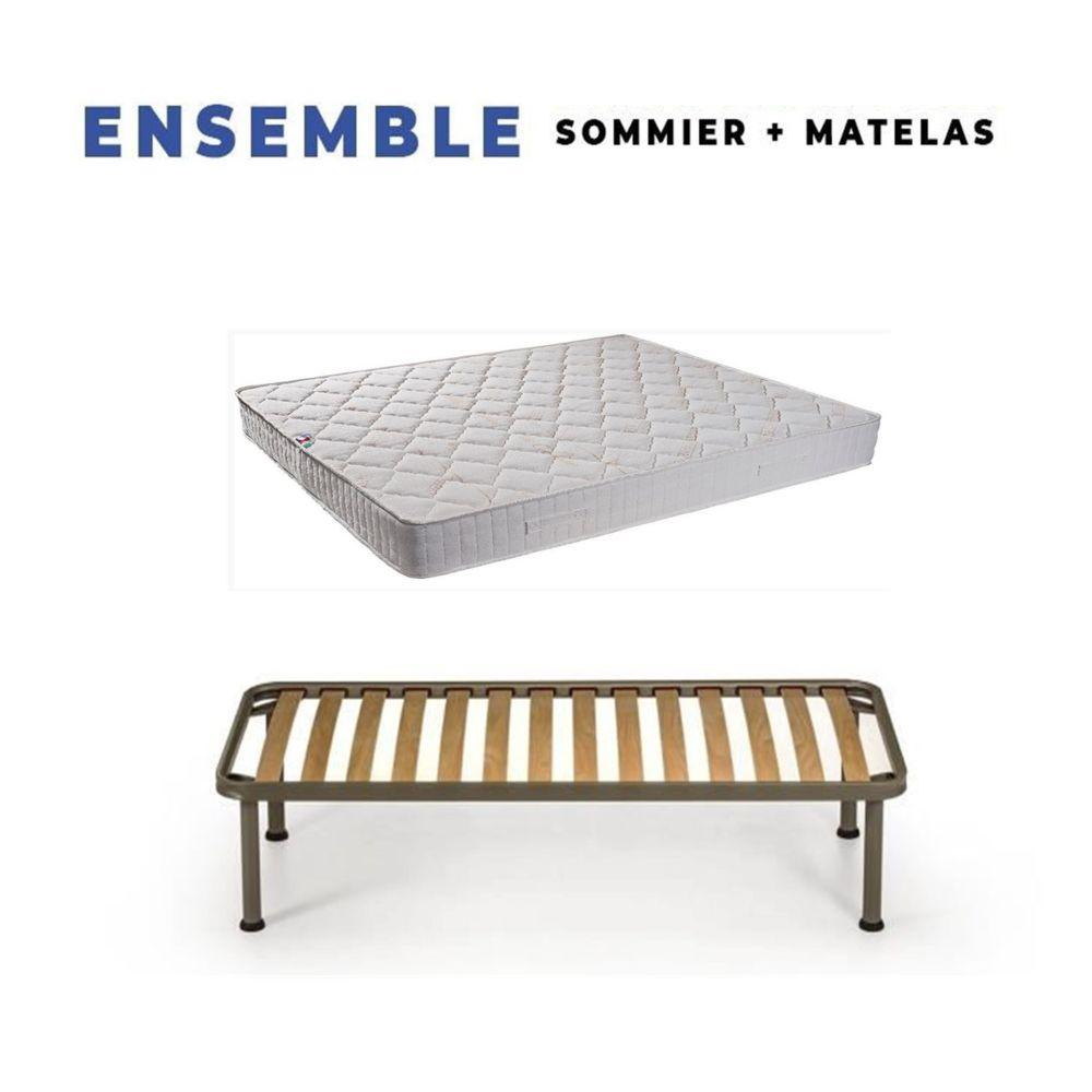 King Of Dreams Matelas Tissu Ignifuge 100x200 + Sommier Démonté + Pieds Offerts - Hauteur 250 cm - Confort Ferme - Mousse Extrêmement D