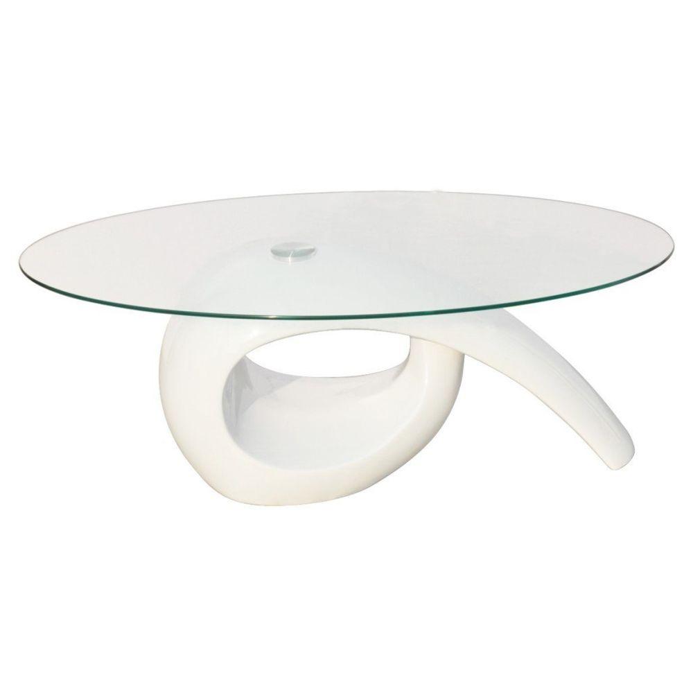 Helloshop26 Table basse de salon salle à manger design blanche verre 115 x 64 cm 0902016