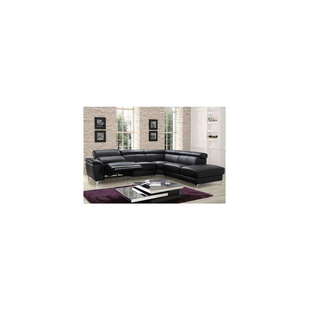 Linea Sofa Canapé d'angle relax électrique en cuir SITIA - Noir - Angle droit