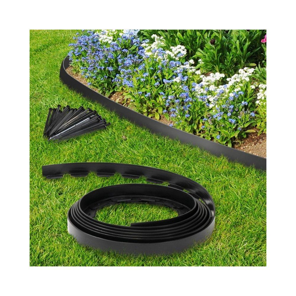 Idmarket Bordurette de jardin flexible noire 10 M avec 30 piquets d'ancrage