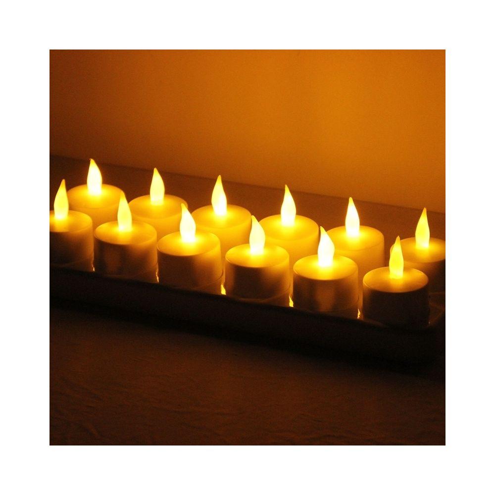 Wewoo Guirlande Lumière de décoration de maison de bougie de Flicker rechargeable sans flammes de 12 PCS LED avec le panneau d