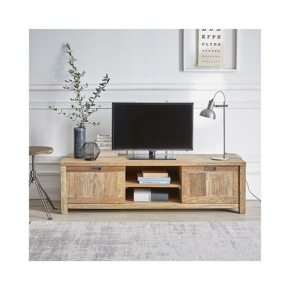 Bois Dessus Bois Dessous Meuble TV en bois de teck recyclé 2 portes