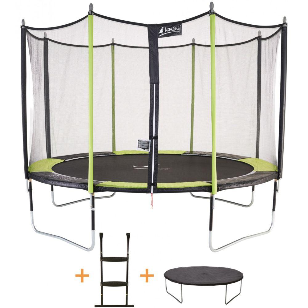 Kangui Kangui - Trampoline de jardin 365 cm + filet de sécurité + échelle + bâche de protection JUMPI Vert/Noir 360