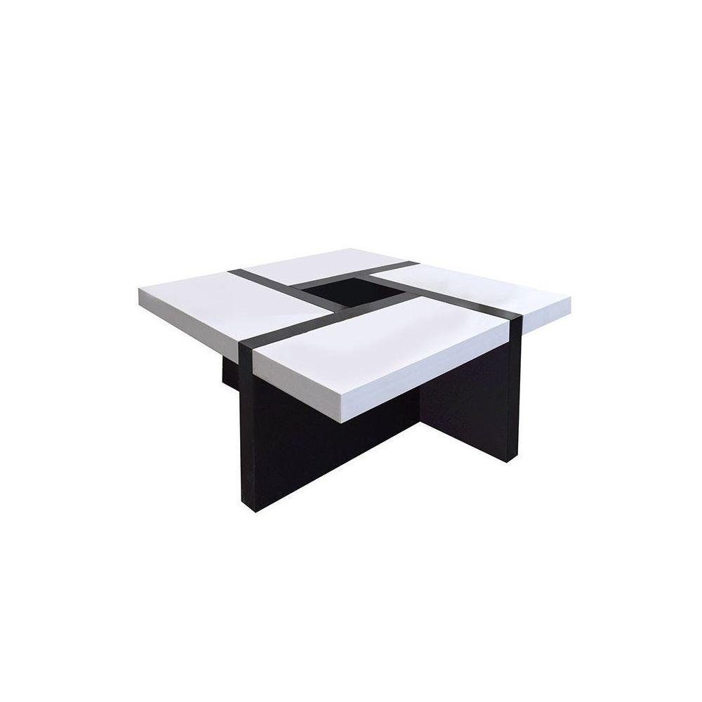 Mobili Rebecca Table Basse Carre Bois Noir Blanc Design Contemporain Salon Sejour
