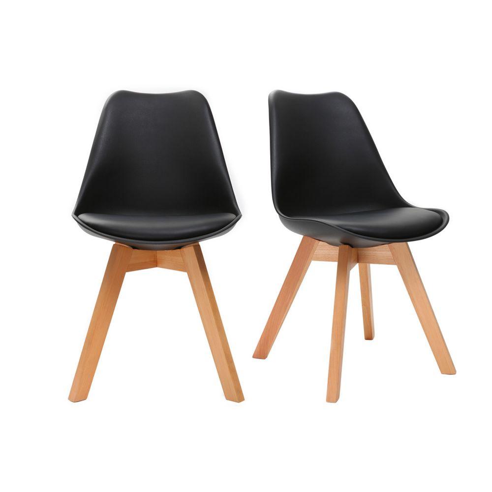 Miliboo Chaises design noires avec pieds bois clair (lot de 2) PAULINE