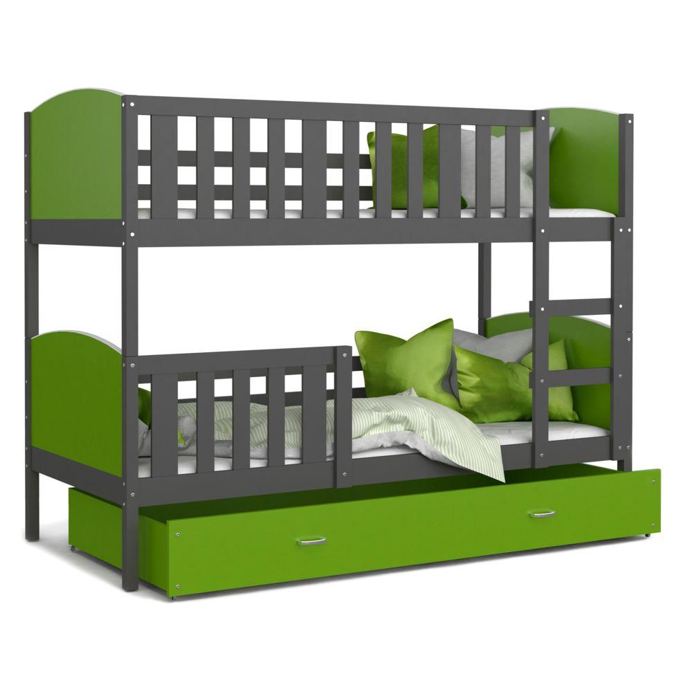 Kids Literie Lit superpose Tomy 90x190 gris vert livré avec tiroir,2 sommiers et 2 matelas en mousse de 7cm offerts