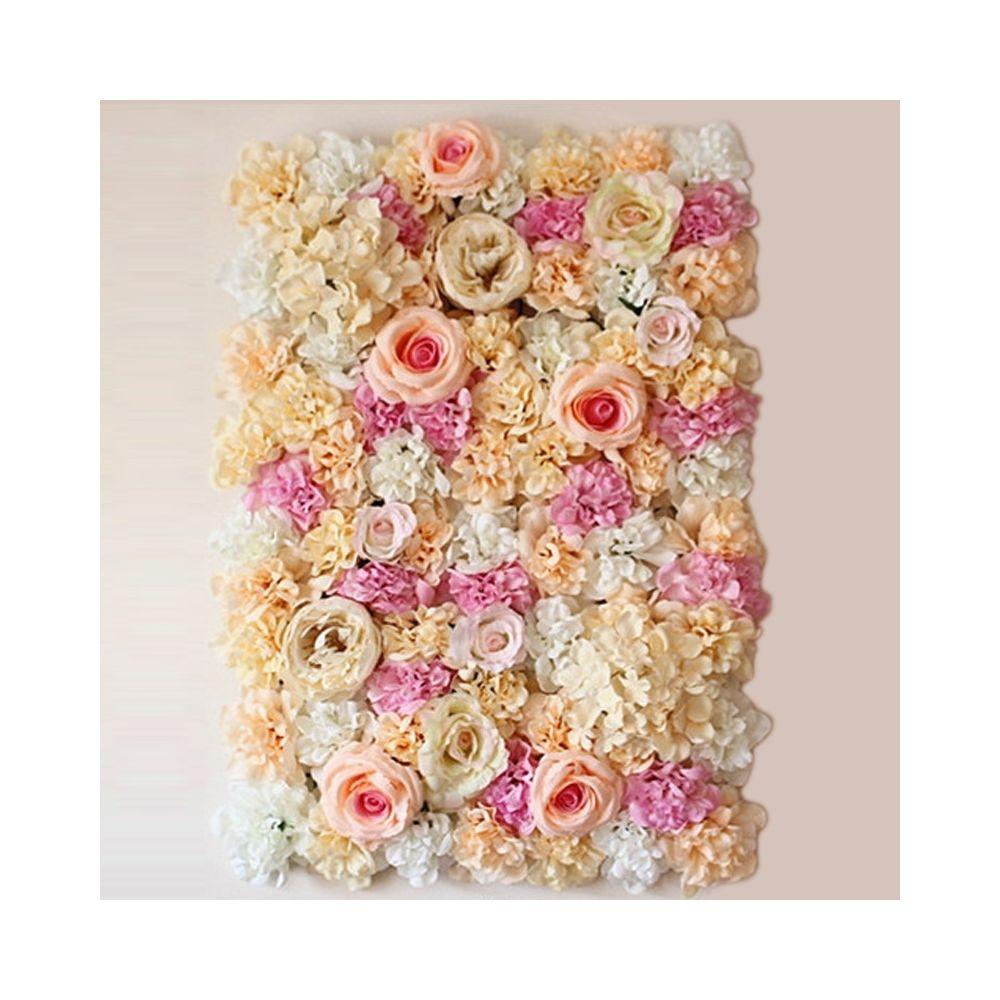 Wewoo Décoration Jardin rose Champagne fleur pivoine hortensia artificielle cryptage bricolage mariage mur photo fond, taille: