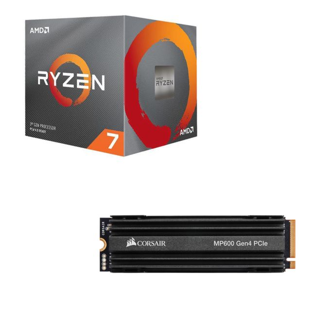 Amd - Ryzen 7 3700X Wraith Prism LED RGB - 3,6/4,4 GHz  + Force MP600 1 To M.2 NVMe PCIe Gen4 - Kit d'évolution