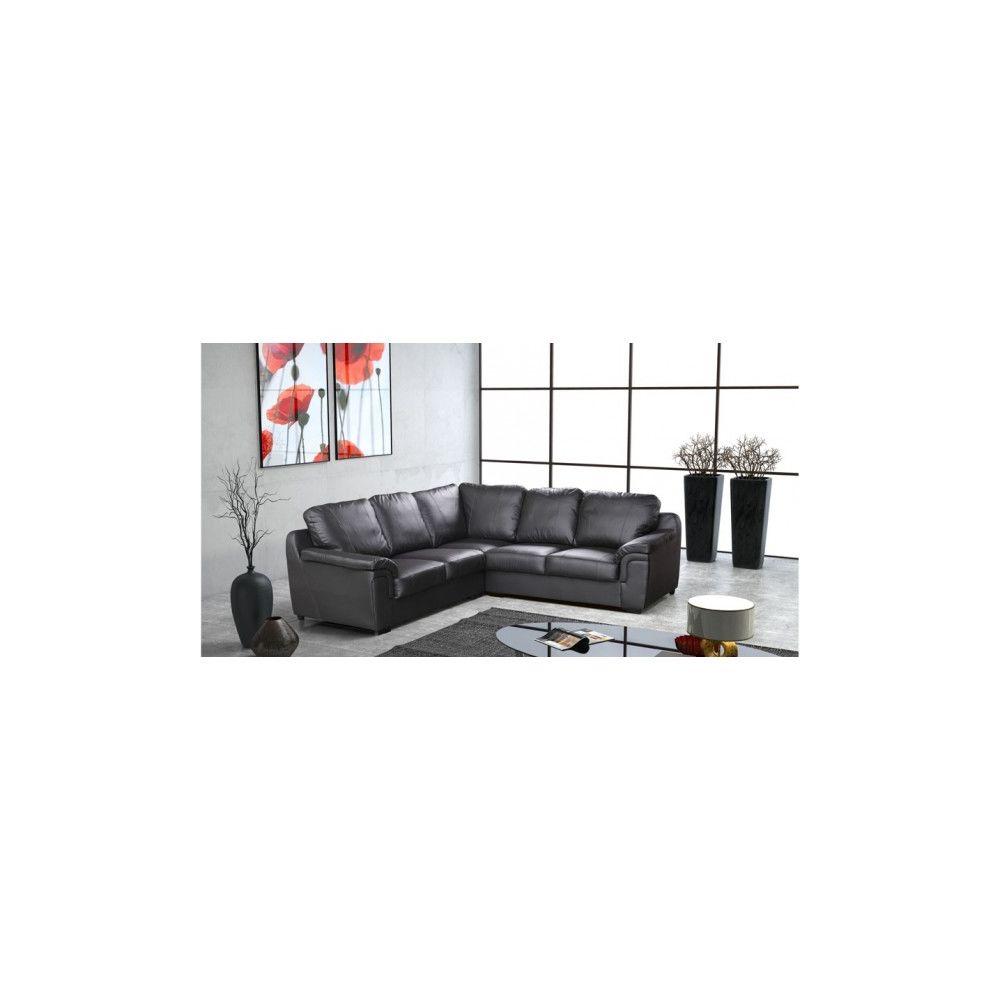 Meublesline Canapé d'angle moderne 5 places VENUS simili cuir noir