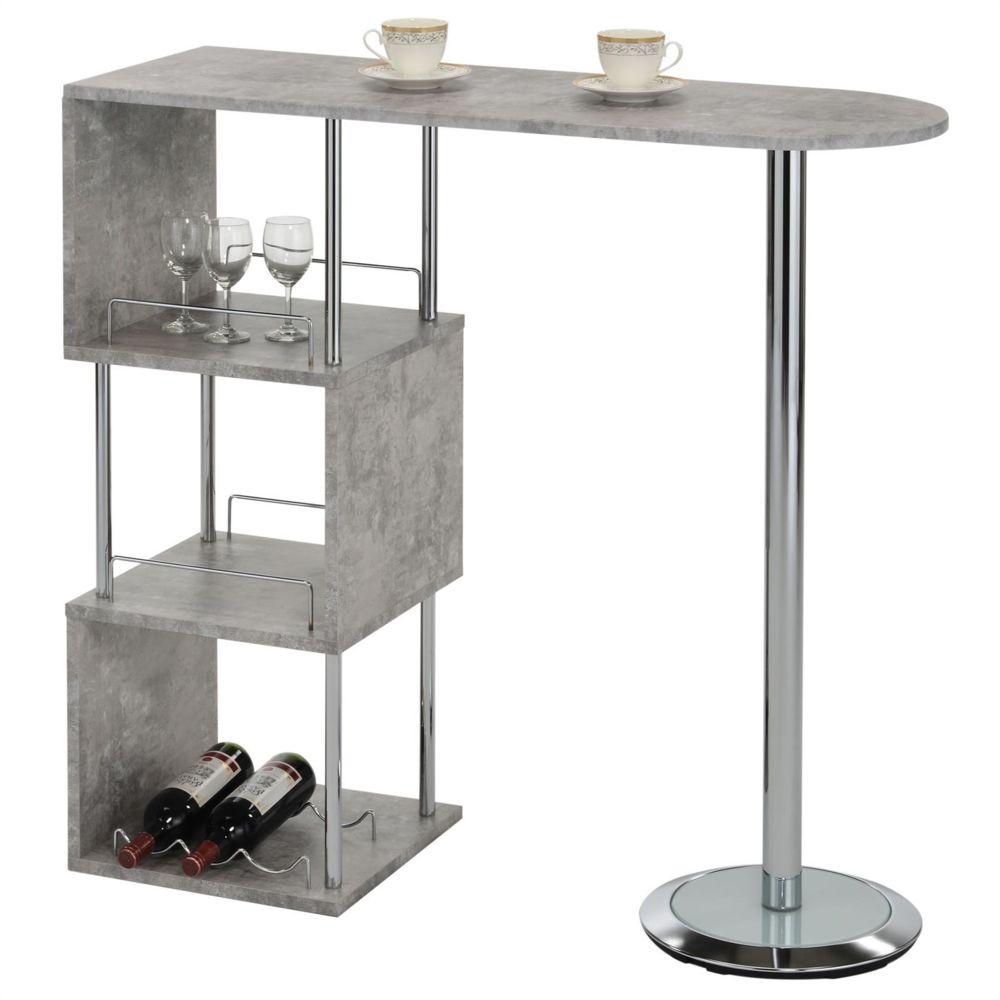 Idimex Table haute de bar VIGANDO mange-debout comptoir avec 3 étagères dont 1 porte-bouteilles, en métal chromé et plateau MDF