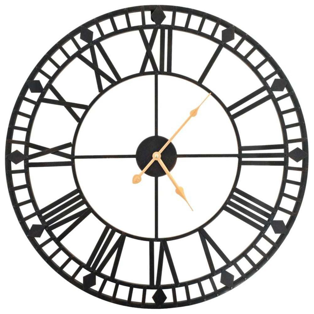 Vidaxl Horloge murale vintage avec mouvement à quartz Métal 60 cm XXL - Décorations - Horloges - Horloges murales   Noir   Noir