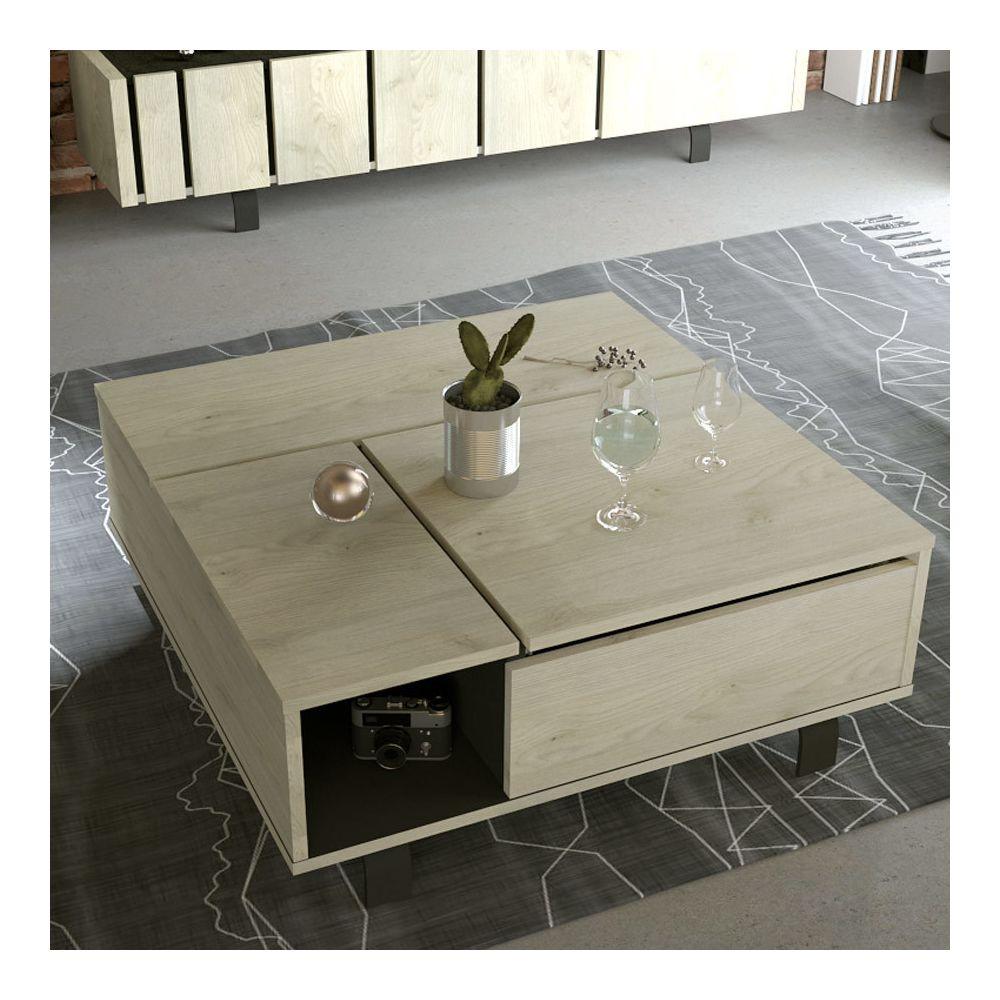 Nouvomeuble Table basse relevante industrielle couleur bois et effet béton KARA