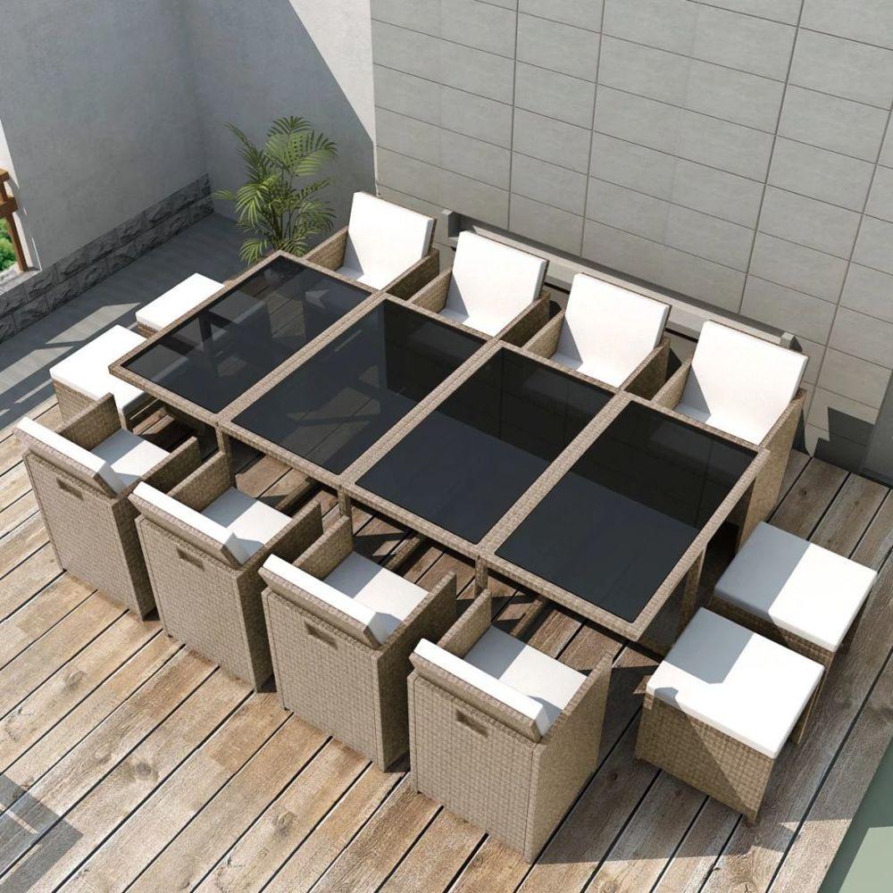 Vidaxl vidaXL Salon de jardin encastrable avec coussins 13 pcs Rotin Beige