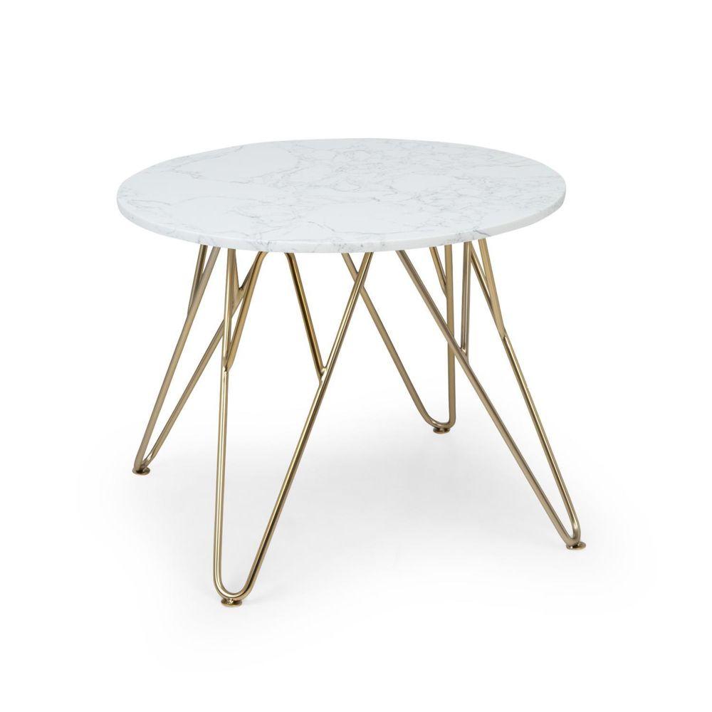 Besoa Besoa Round Pearl Table basse de salon ronde 55 x 45 cm (ØxH) - Design marbre doré & blanc