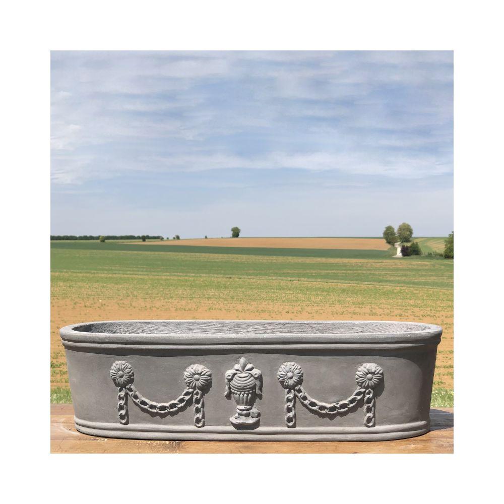 L'Originale Deco Jardinière Pot Vasque Médicis Fenêtre Jardiniere Balcon Guirlande Gris Fonte Gris Plomb 38 cm x 14 cm