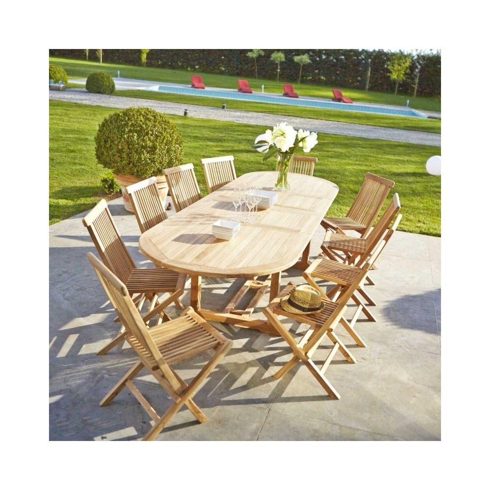 Bois Dessus Bois Dessous Table de jardin en bois de teck avec rallonge 10 à 12 places