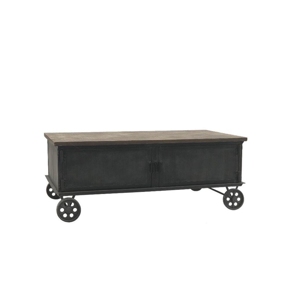 L'Originale Deco Grand Table Basse en Bois et Métal sur Roulettes Fonte 130 cm x 70 cm