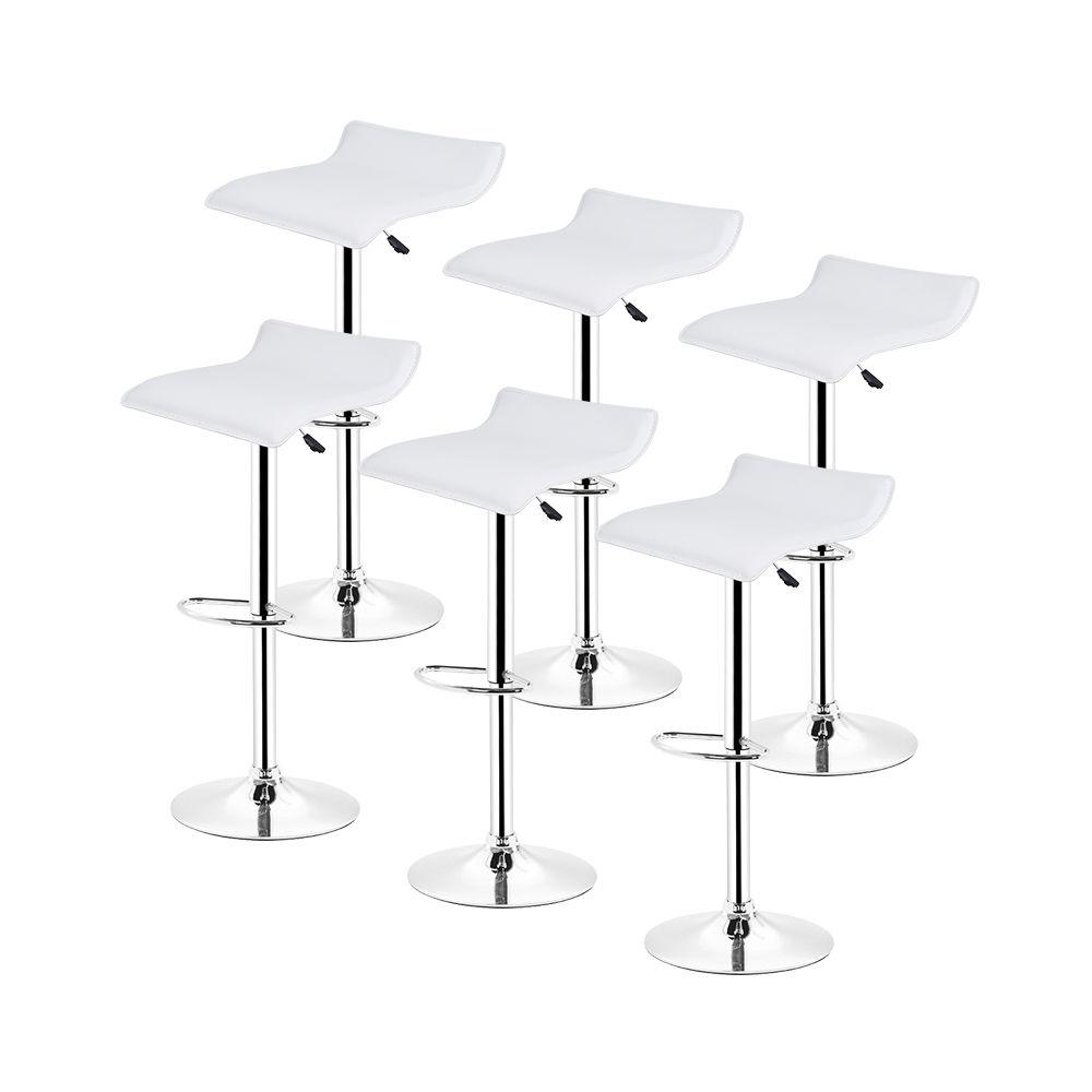 Ltppstore Lot de 6 Tabourets De Bar en PU style contemporain, rotation à 360 °, réglable en hauteur, BLANC