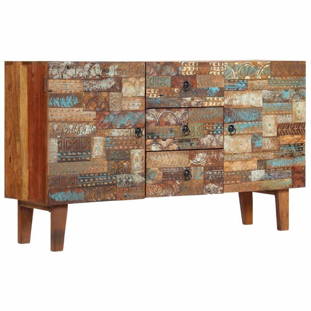 Helloshop26 Buffet bahut armoire console meuble de rangement bois de récupération solide 140 cm 4402132