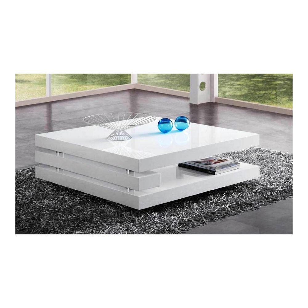 Kasalinea Table basse blanc laqué design ADRIANA 2