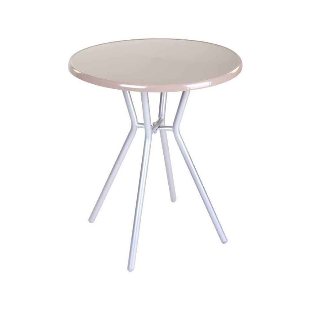 Ma Maison Mes Tendances Table de jardin ronde 60cm en acier beige ZAMORA - L 60 x l 60 x H 70