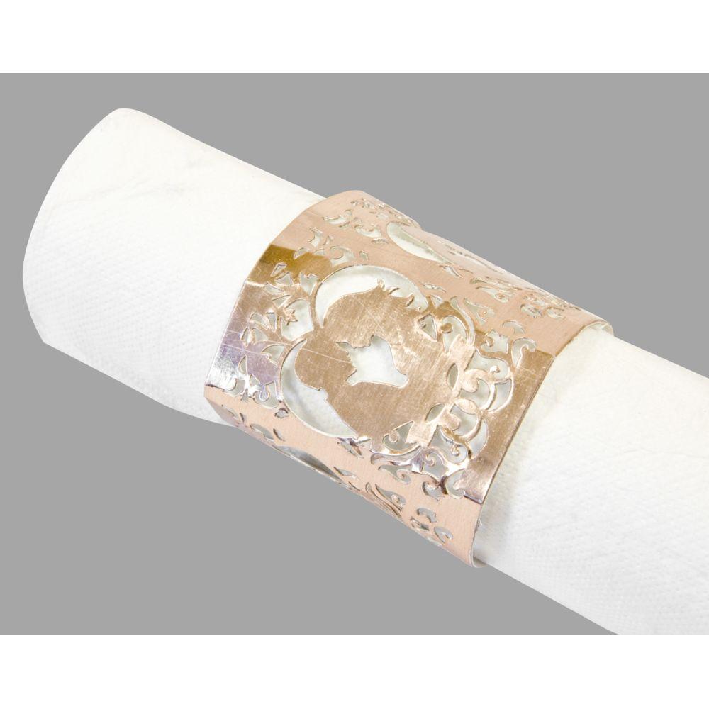 Visiodirect 10 Lots de 6 Décors de serviette Mariage Rose gold - 17,5 x 5,7 cm