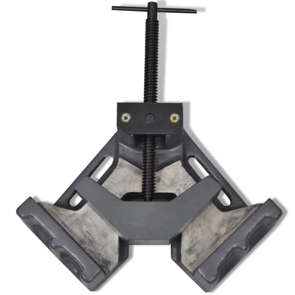 Helloshop26 Étau d'angle manuel gris fonte 100 mm outils garage atelier bricolage 3402095