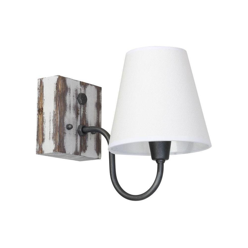 Homemania HOMEMANIA Lampe Murale Gru - Applique - Blanc en Métal, Bois, Tissu, 15 x 27,5 x 22 cm, 1 x E27, 60W