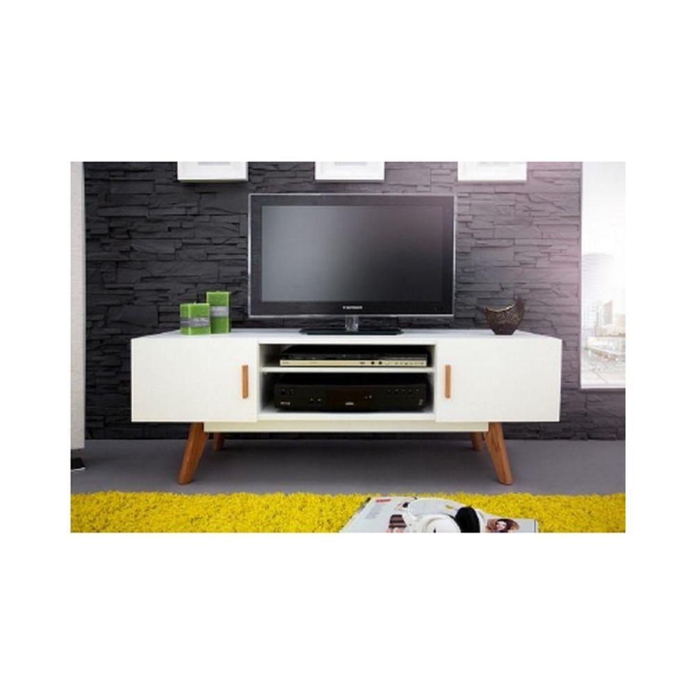 Beaux Meubles Pas Chers Meuble TV Blanc 2 Portes 4 Pieds Chêne Vintage