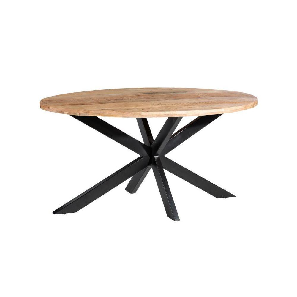 Tousmesmeubles Table de repas ovale Bois/Métal - KHANE