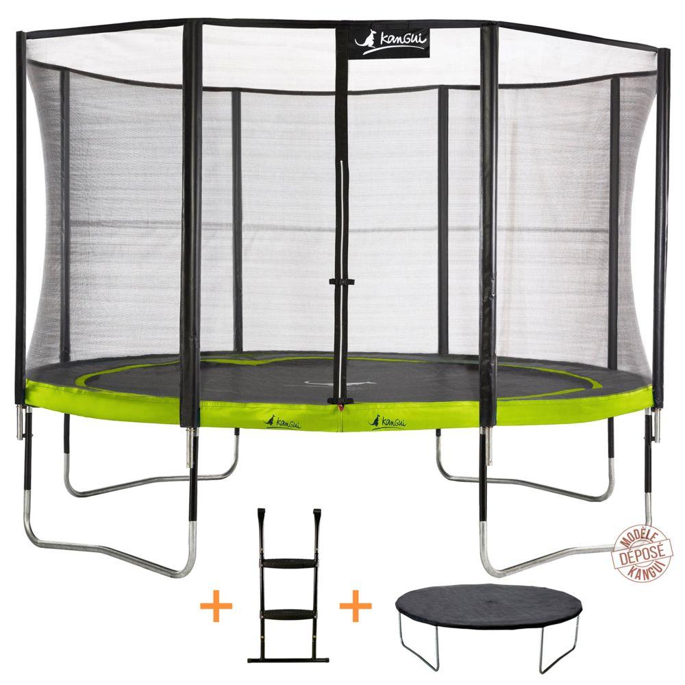 Kangui Kangui - Trampoline de jardin 365 cm + filet de sécurité + échelle + bâche de protection PUNCHI Vert 360