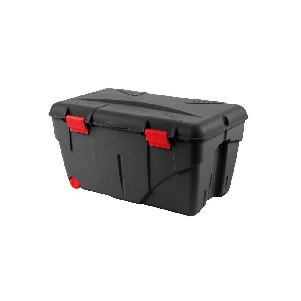 Eda Plastiques Caisse De Rangement Avec Couvercle Roulettes Malle Trafic 85 L Rouge Noir Casiers De Rangement Rue Du Commerce