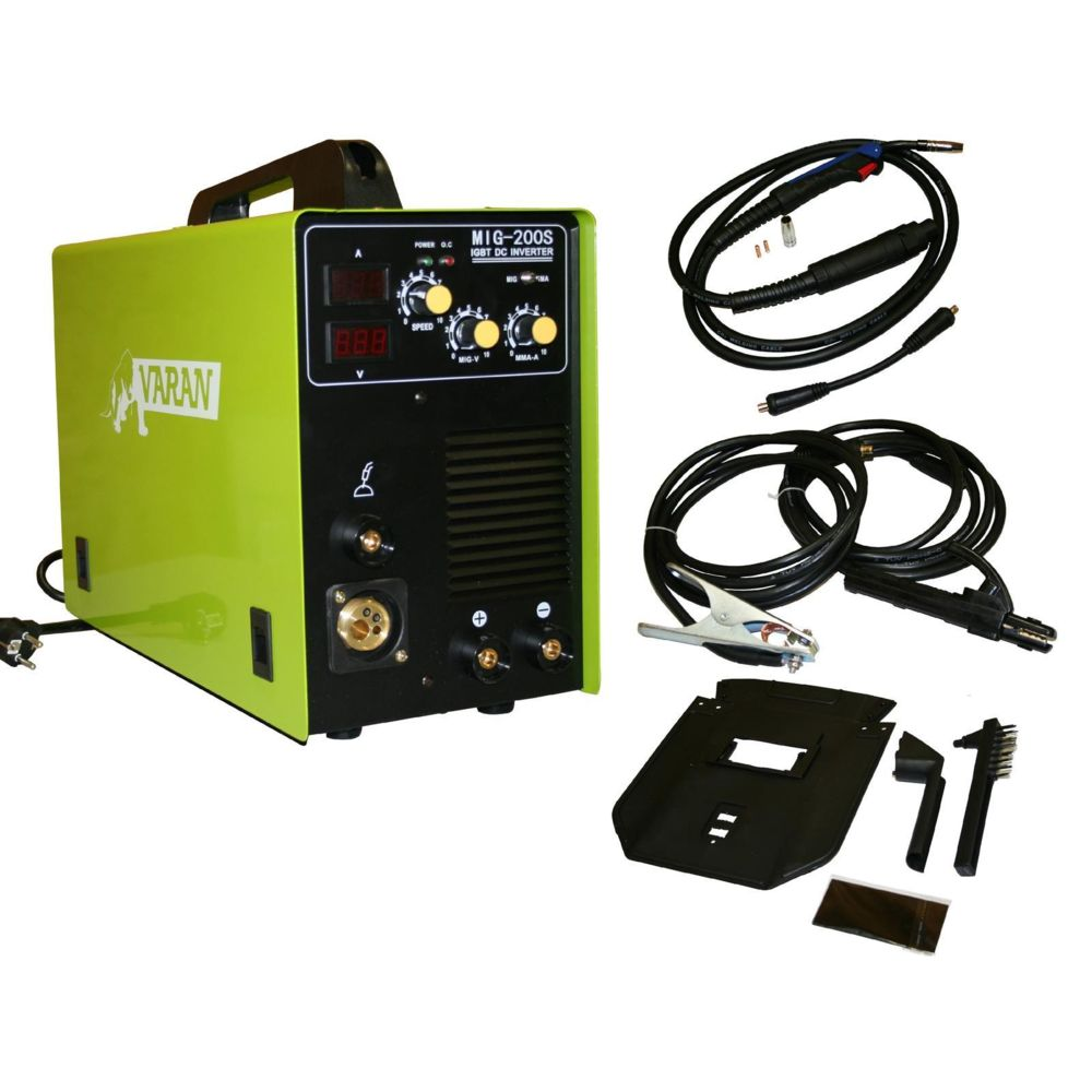 Varanmotors Poste à souder Inverter 2 en 1 MIG-200S + MMA, Varan MIG-200S + Accessoires