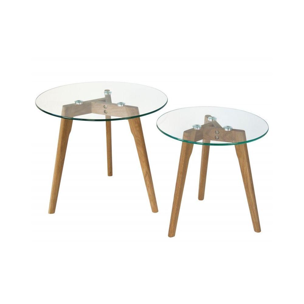 Decoshop26 Set de deux tables basses plateau en verre pied en bois TABA06006