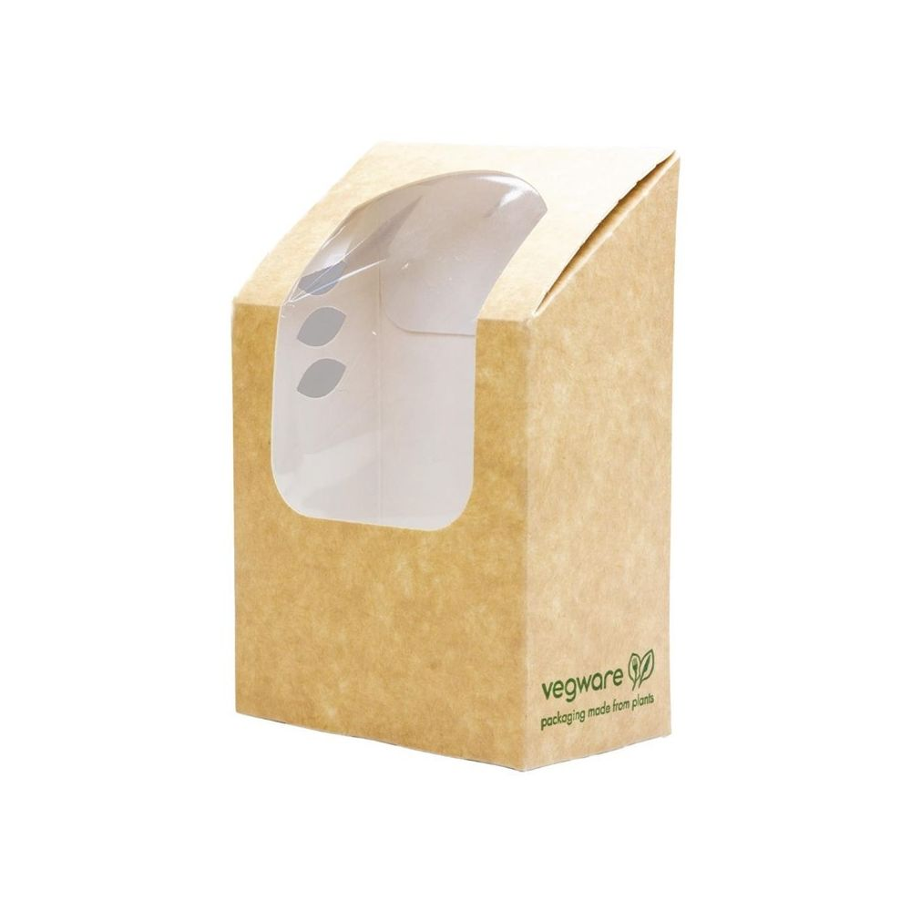Materiel Chr Pro Emballage Alimentaire Professionnel Compostable à Wrap et Tortilla Kraft avec Fenêtre PLA - Lot de 500 - Vegware - 0