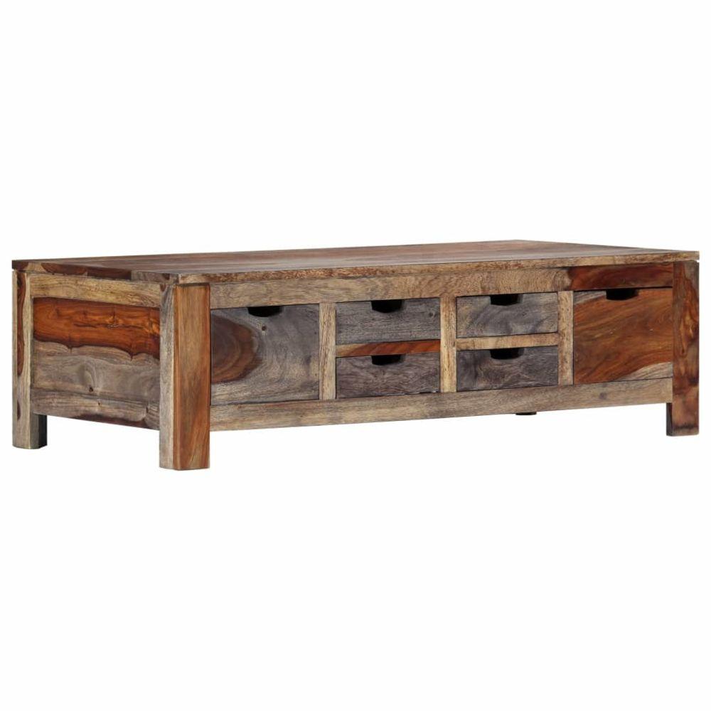 Uco UCO Table basse Gris 100 x 55 x 30 cm Bois de Sesham massif
