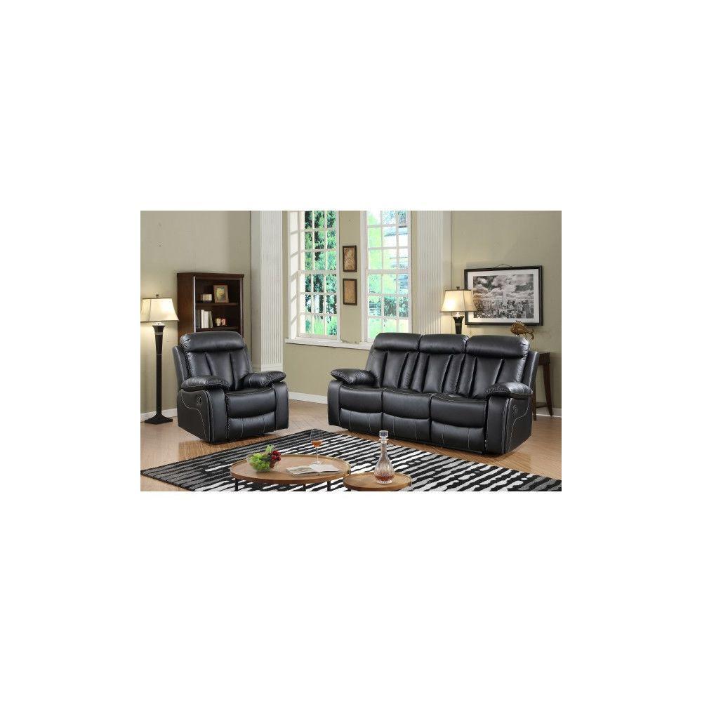 Moloo Set MILAN Canapé 3 et fauteuil relax manuel simili noir