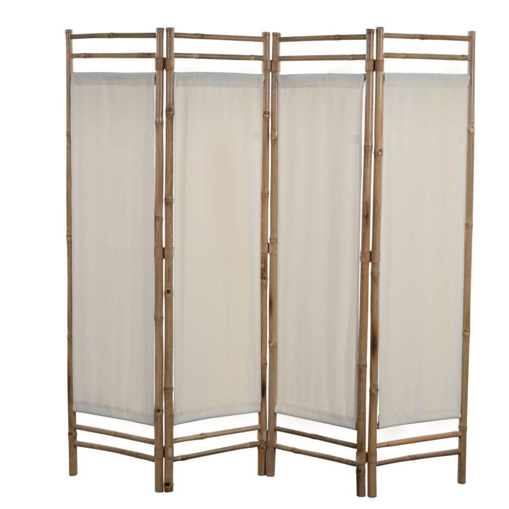 Vidaxl Cloison de séparation pliable 4 panneaux Bambou et toile 160 cm   Crème - Séparateurs de pièces - Meubles   Crème   Crèm
